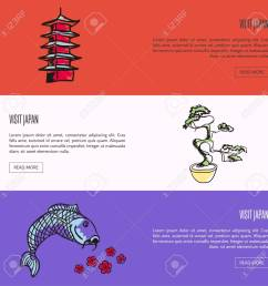 koi fish cherry flowers bonsai tree in pot pagoda tower drawn vector illustrations templates with country related symbols for travel company landing  [ 1300 x 1300 Pixel ]