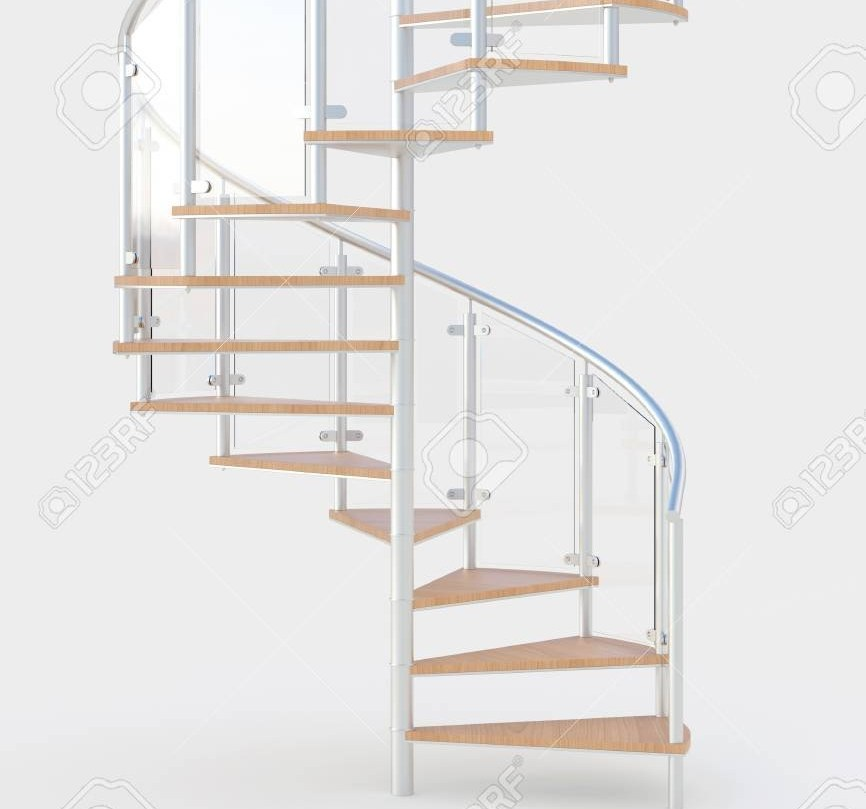 Spiral Staircase With Wooden Steps And Metal Railing 3D Rendering | Spiral Staircase Wooden Steps | 2 Floor | Traditional | Enclosed | Kid Friendly | Solid