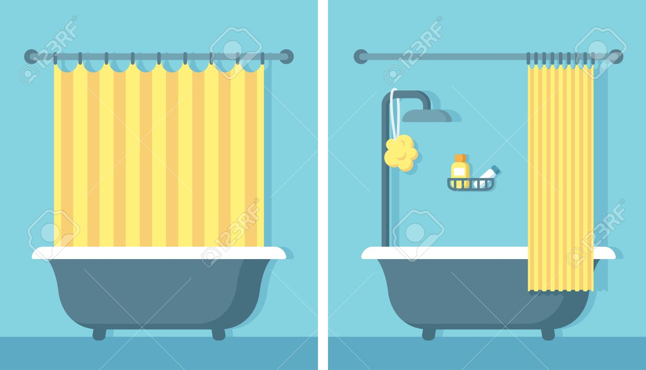 Bathroom Shower Curtain Bathroom Shower Interior In Flat Cartoon Vector Style With Open