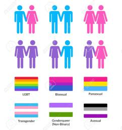 set of couples of different gender and sexual oriantaion with pride flags gay and lesbian [ 1148 x 1300 Pixel ]