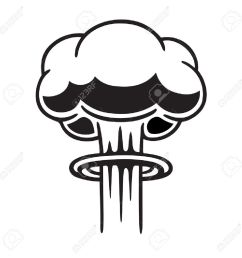 cartoon comic style nuclear mushroom cloud illustration black and white vector clip art graphic  [ 1300 x 1300 Pixel ]