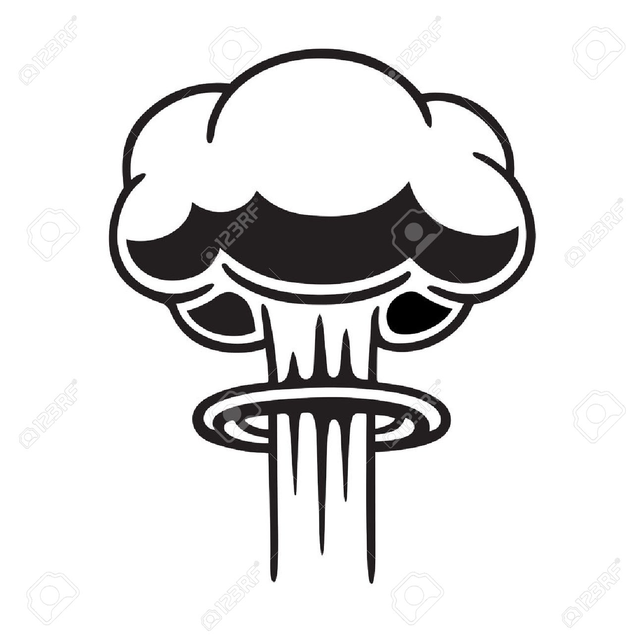 hight resolution of cartoon comic style nuclear mushroom cloud illustration black and white vector clip art graphic