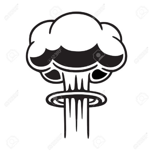 small resolution of cartoon comic style nuclear mushroom cloud illustration black and white vector clip art graphic