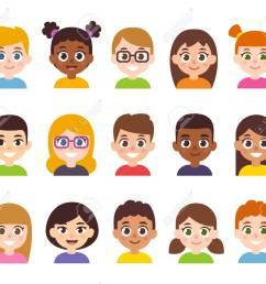 cartoon children avatar set cute diverse kids faces vector clipart illustration stock vector [ 1300 x 1137 Pixel ]