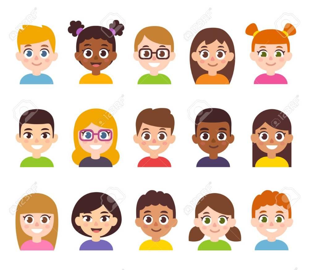 medium resolution of cartoon children avatar set cute diverse kids faces vector clipart illustration stock vector