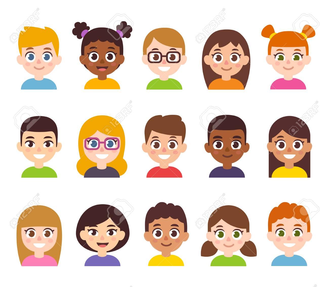 hight resolution of cartoon children avatar set cute diverse kids faces vector clipart illustration stock vector