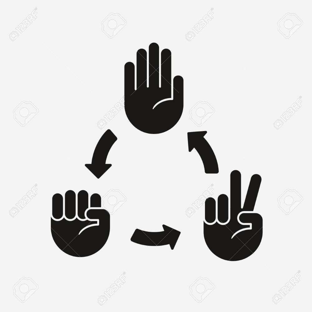 medium resolution of rock paper scissors game diagram hand icons with arrows showing which gesture wins stock
