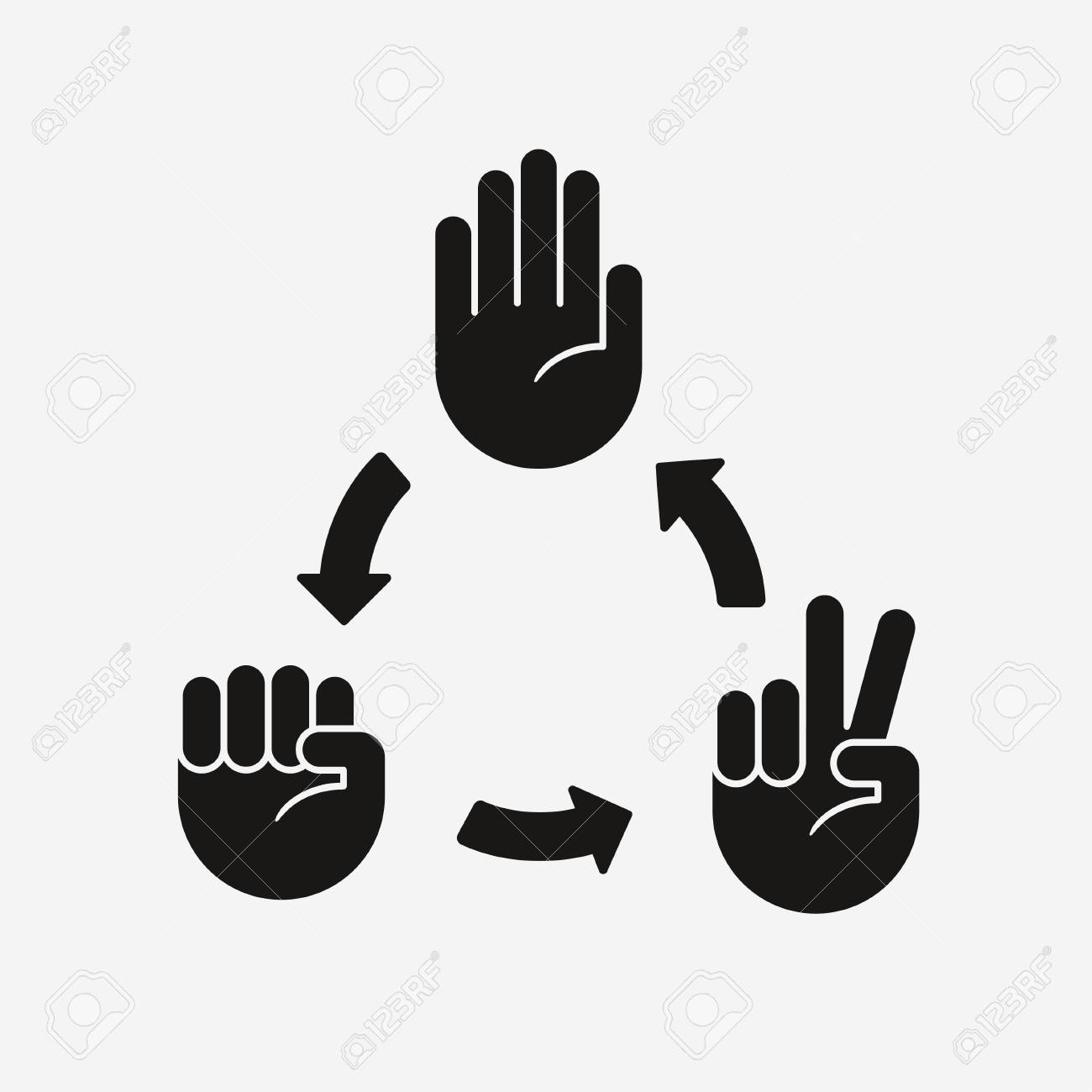 hight resolution of rock paper scissors game diagram hand icons with arrows showing which gesture wins stock