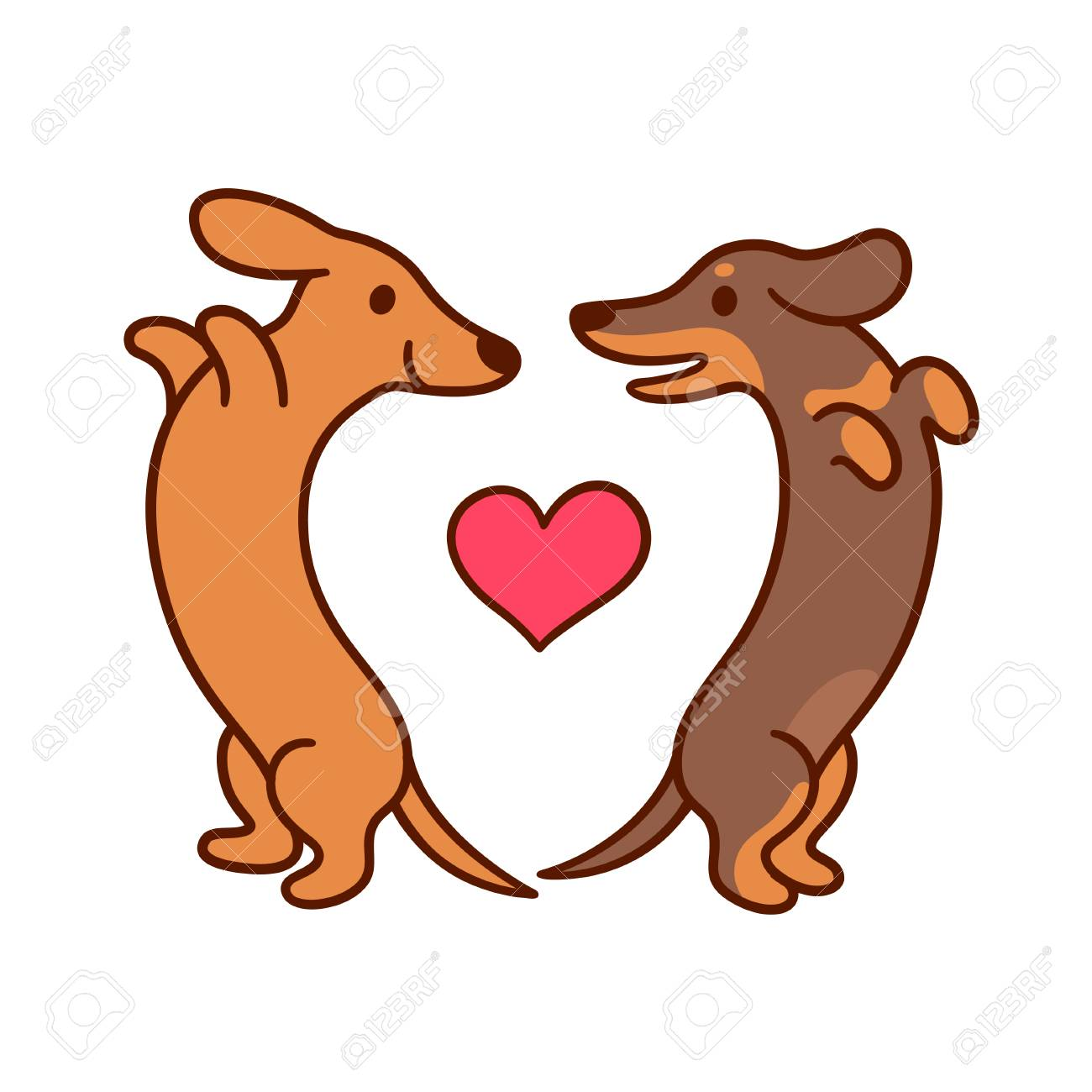 hight resolution of cute cartoon dachshunds in love adorable wiener dogs looking at each other in heart shape