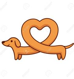 cute cartoon dachshund with heart shaped body funny long wiener dog st valentines [ 1300 x 1300 Pixel ]