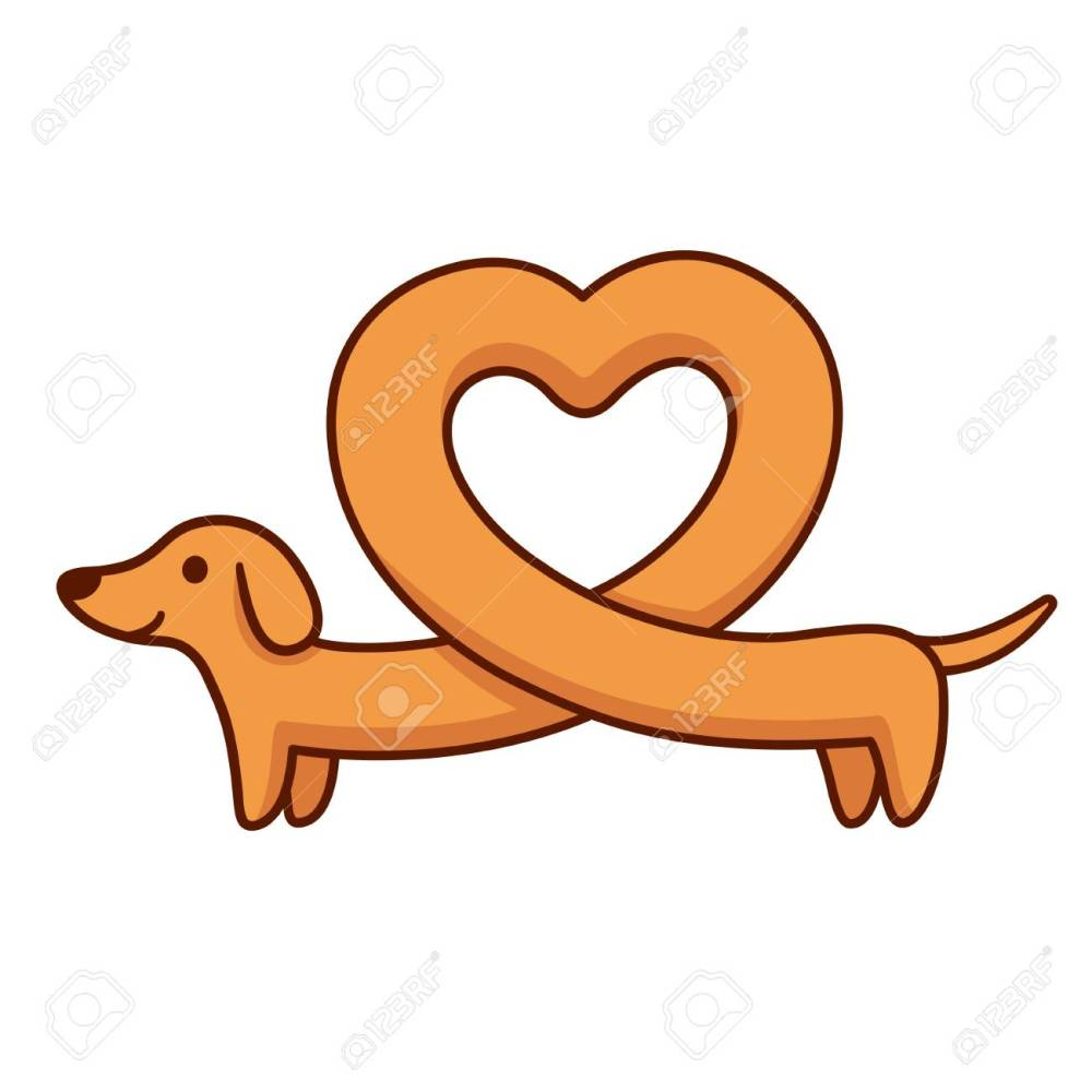 medium resolution of cute cartoon dachshund with heart shaped body funny long wiener dog st valentines