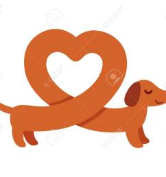 cute cartoon dachshund with heart shaped body funny wiener dog st valentines day [ 1300 x 1083 Pixel ]