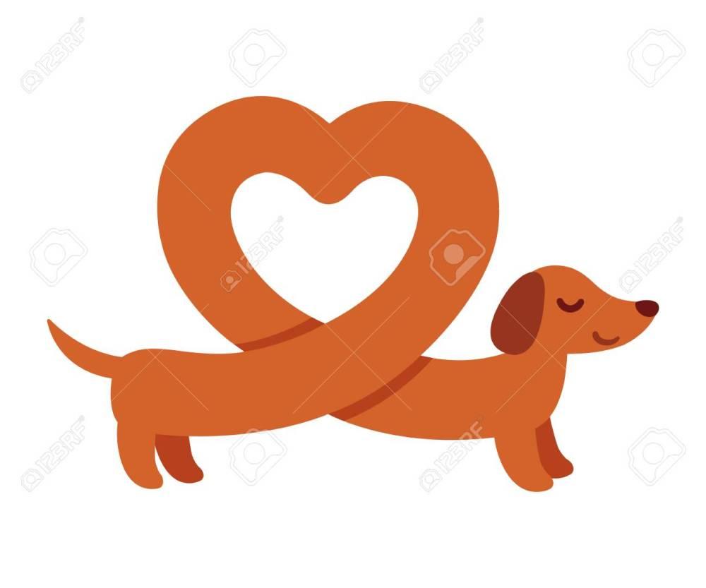 medium resolution of cute cartoon dachshund with heart shaped body funny wiener dog st valentines day