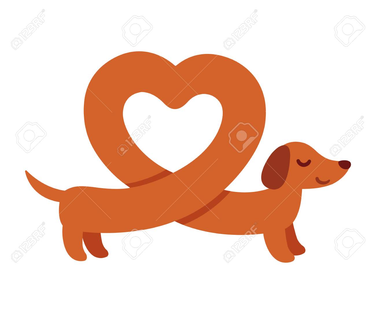 hight resolution of cute cartoon dachshund with heart shaped body funny wiener dog st valentines day