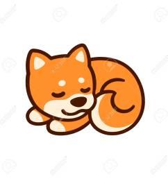 cute cartoon shiba inu puppy vector illustration little sleeping dog drawing stock vector  [ 1300 x 1300 Pixel ]