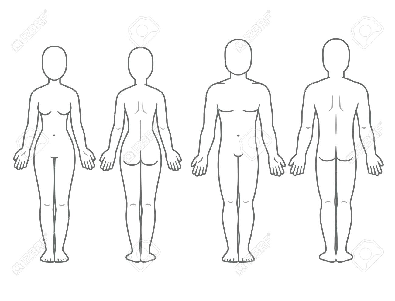 hight resolution of male and female body front and back view blank human body template for medical infographic