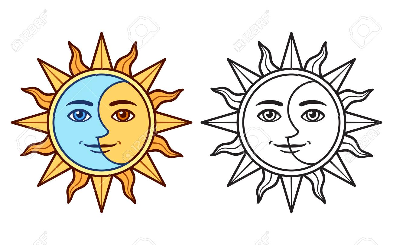 Half moon half sun p. Stylized Half Sun Half Moon Face Black And White Drawing And Royalty Free Cliparts Vectors And Stock Illustration Image 124951221