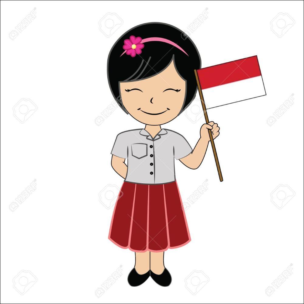 medium resolution of cartoon girl student asean indonesia stock photo 33330176
