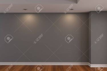 Home Interior Rendering With Empty Room Gray Color Wall And Decorated Stock Photo Picture And Royalty Free Image Image 12655910