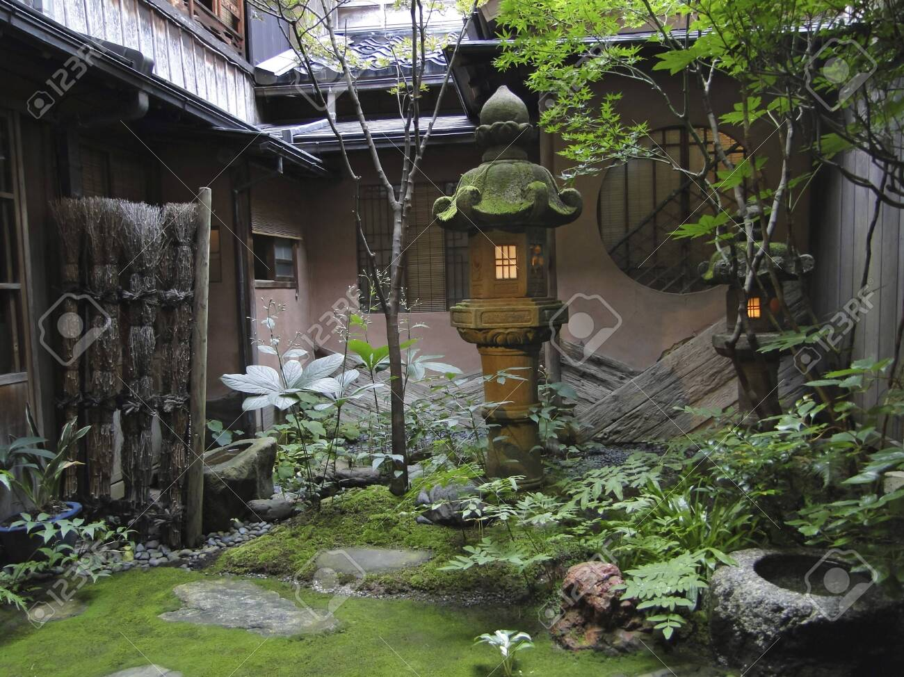 Japanese Garden Lamp Inner Courtyard Of A Japanese Tea House Stock Photo Picture And Royalty Free Image Image 134413934