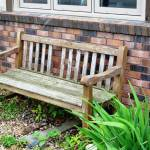Wooden Bench In The Garden Outside Of A Small Cafe Stock Photo Picture And Royalty Free Image Image 29866868