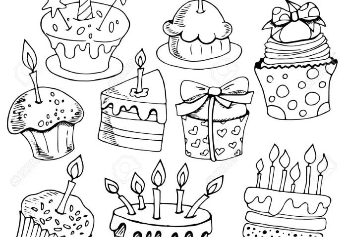 Set Of Sketches Baking Birthday Cakes Desserts Black And White