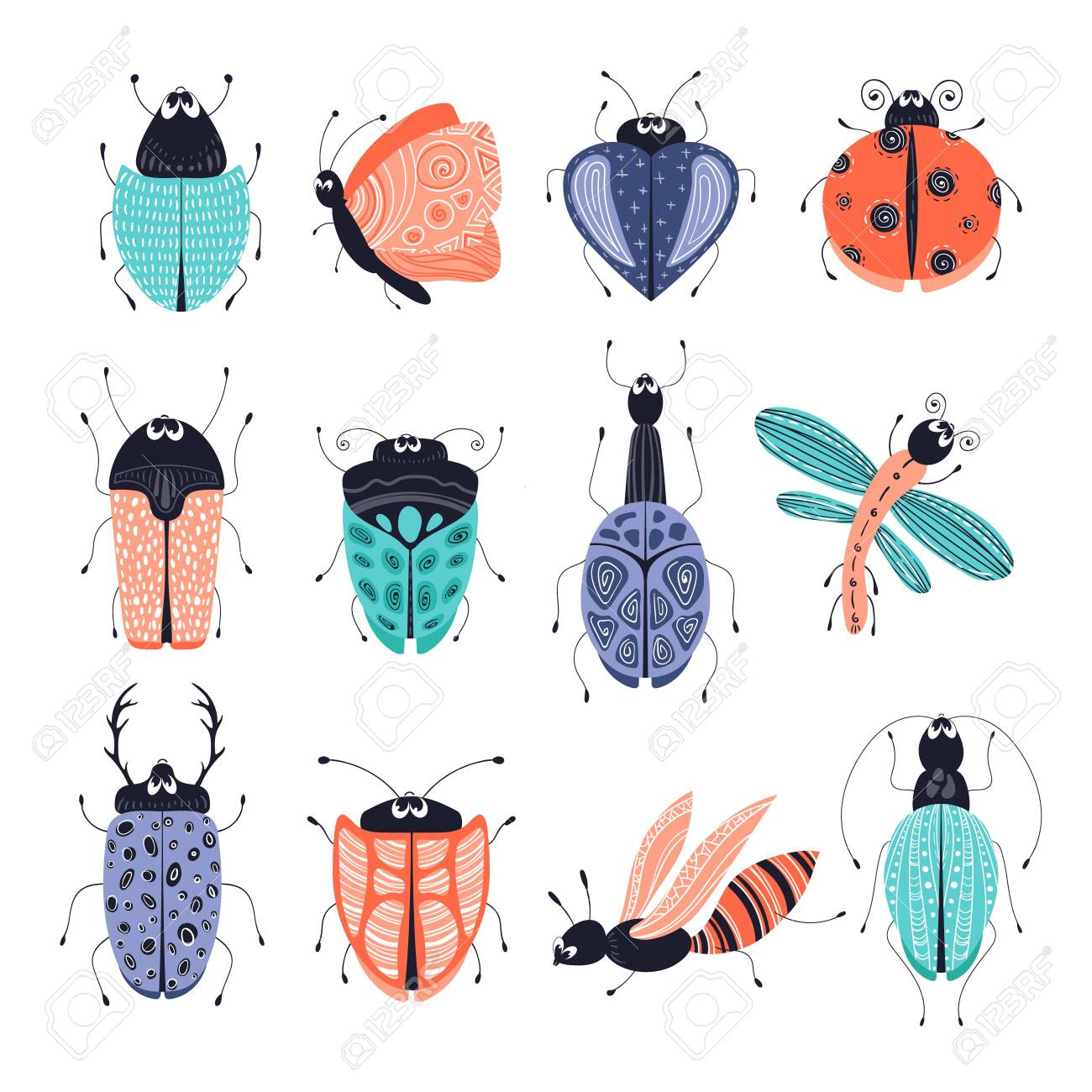 hight resolution of discovery set of cute cartoon bugs or beetles butterflies isolated elements clipart on