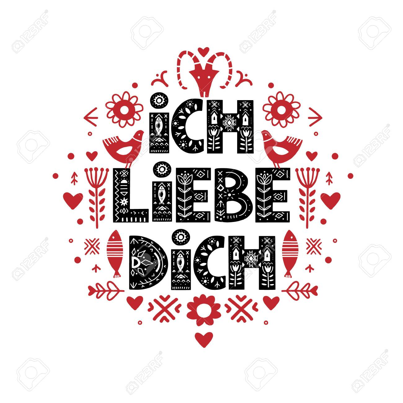 Ich Liebe Dich Calligraphy Template In German Lettering Poster Royalty Free Cliparts Vectors And Stock Illustration Image 137165851