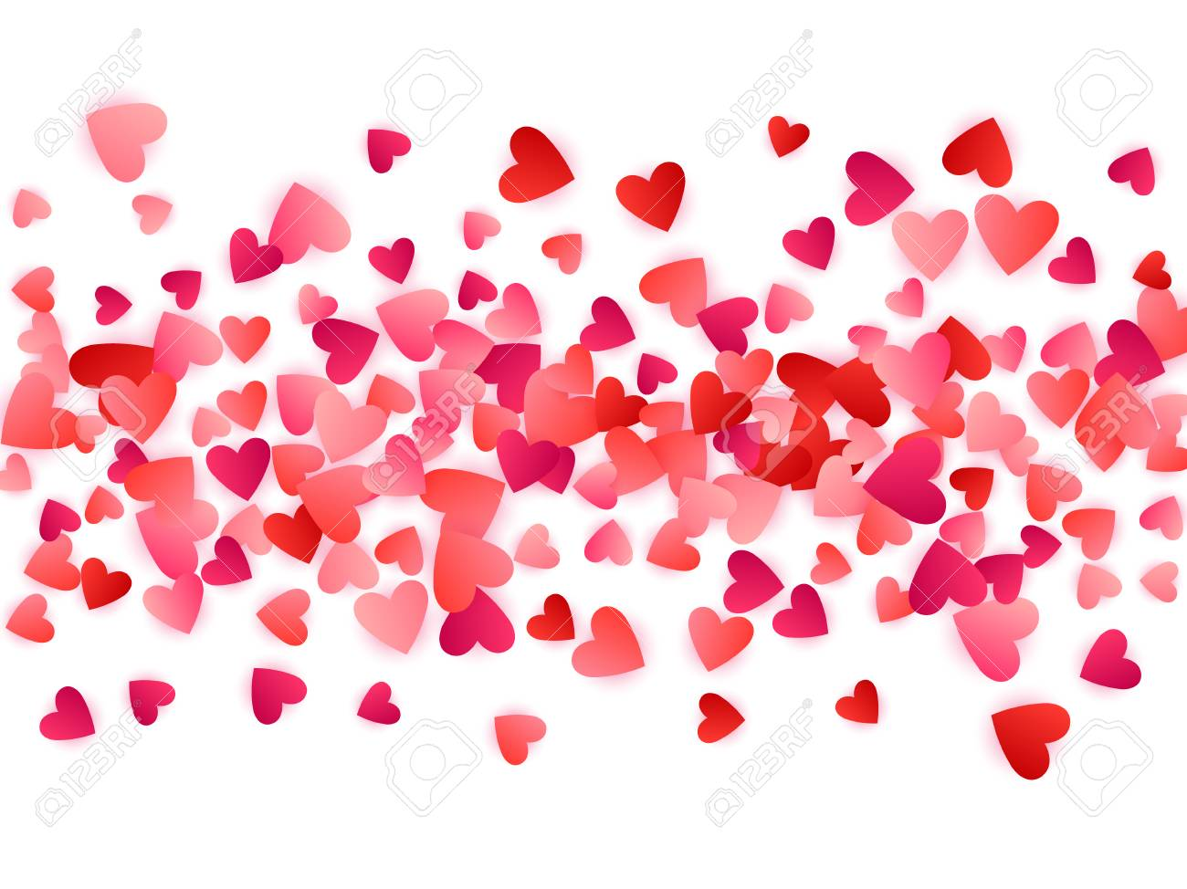 red flying hearts bright