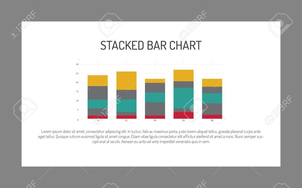 medium resolution of editable infographic template of stacked bar chart multicolored sample text stock vector 51164072