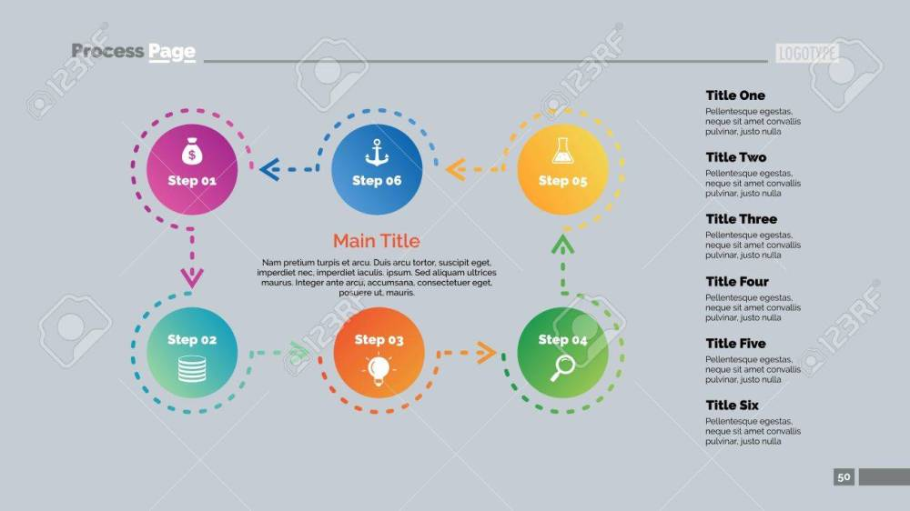 medium resolution of six steps process chart business data cycle diagram design creative concept