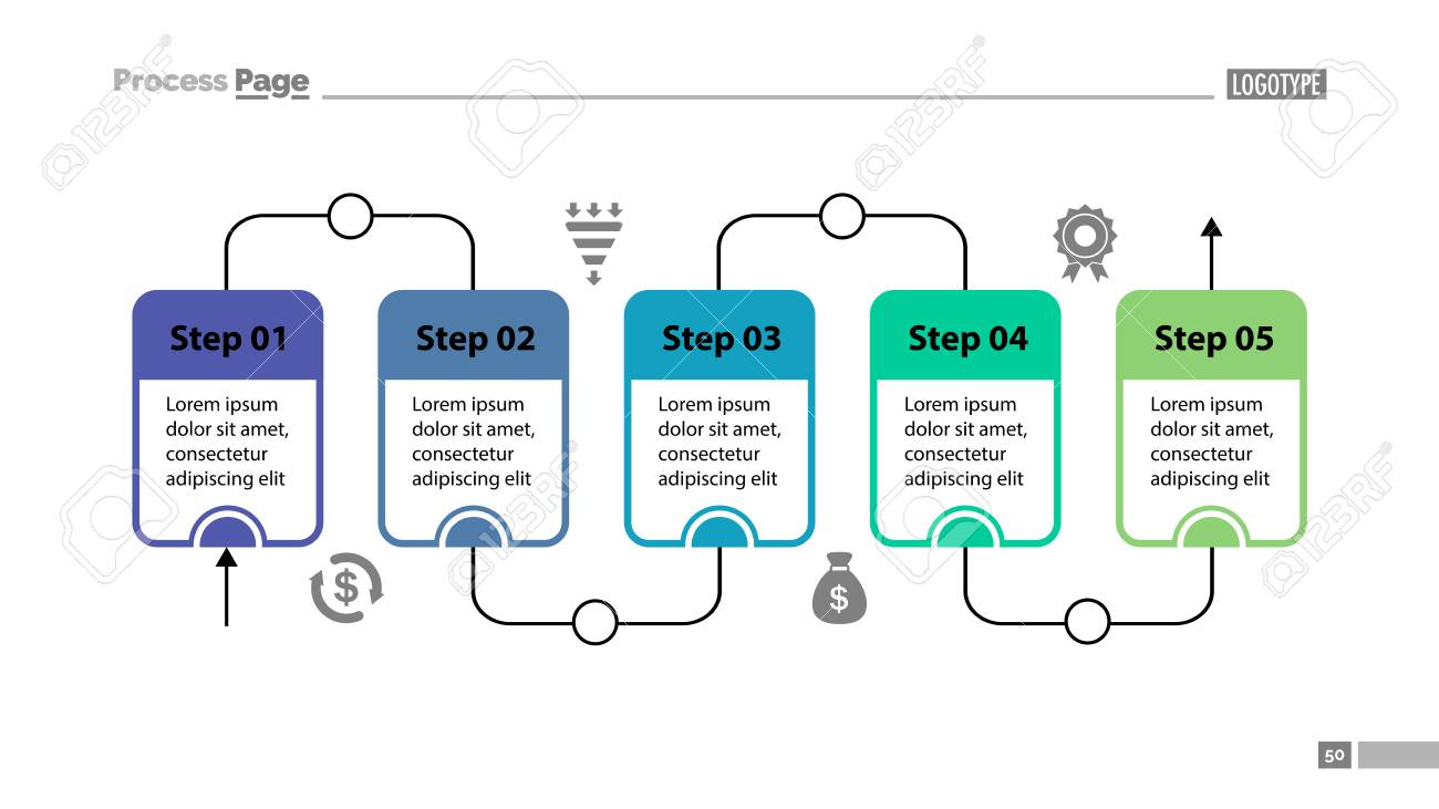 hight resolution of five steps process chart slide template business data flow diagram design