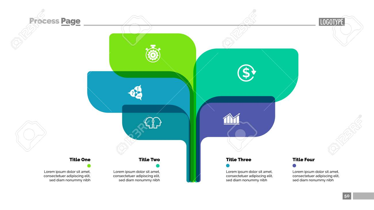Tree Chart Slide Template With Five Elements Business Data Option Process  Design