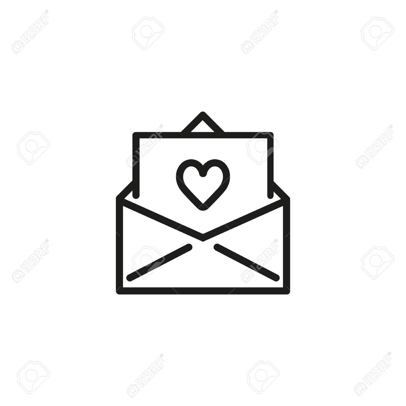 wedding invitation line icon envelope paper heart wedding