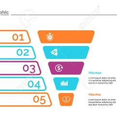 funnel diagram with five steps process chart slide template creative concept for infographics [ 1300 x 731 Pixel ]