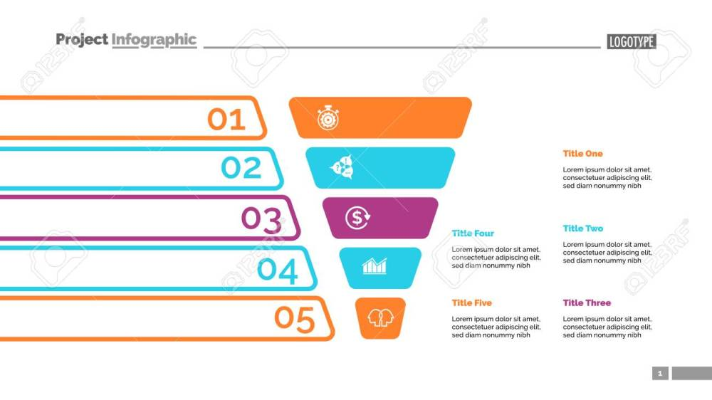 medium resolution of funnel diagram with five steps process chart slide template creative concept for infographics