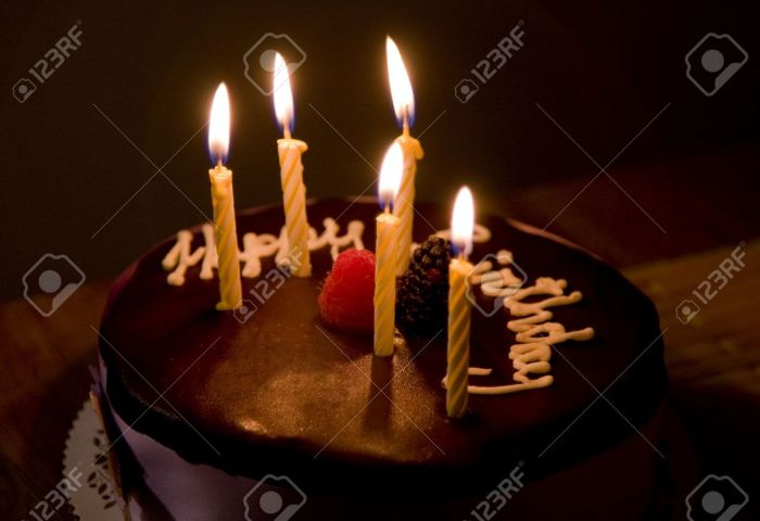 Happy Birthday Cake With Burning Candles Stock Photo Picture And