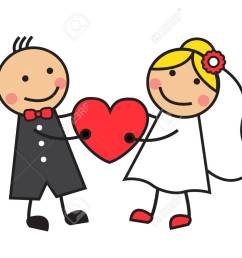cartoon bride and groom are holding heart stock vector 23656499 [ 1300 x 1030 Pixel ]