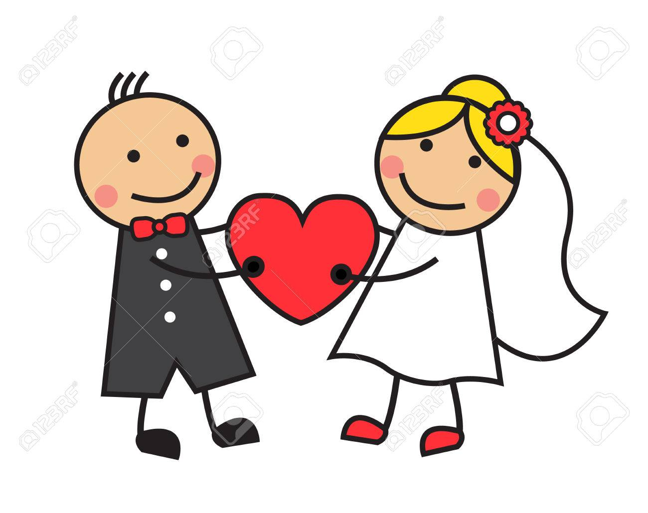 hight resolution of cartoon bride and groom are holding heart stock vector 23656499