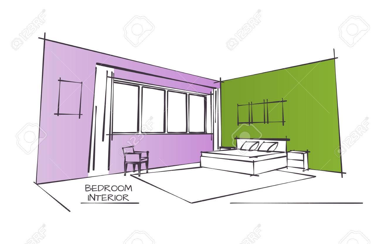 couleur sketch dessin de chambre contemporaine interieur