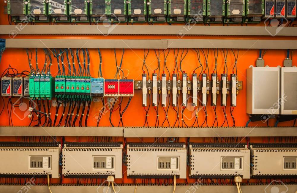 medium resolution of industrial fuse box on the wall closeup photo stock photo 19008630