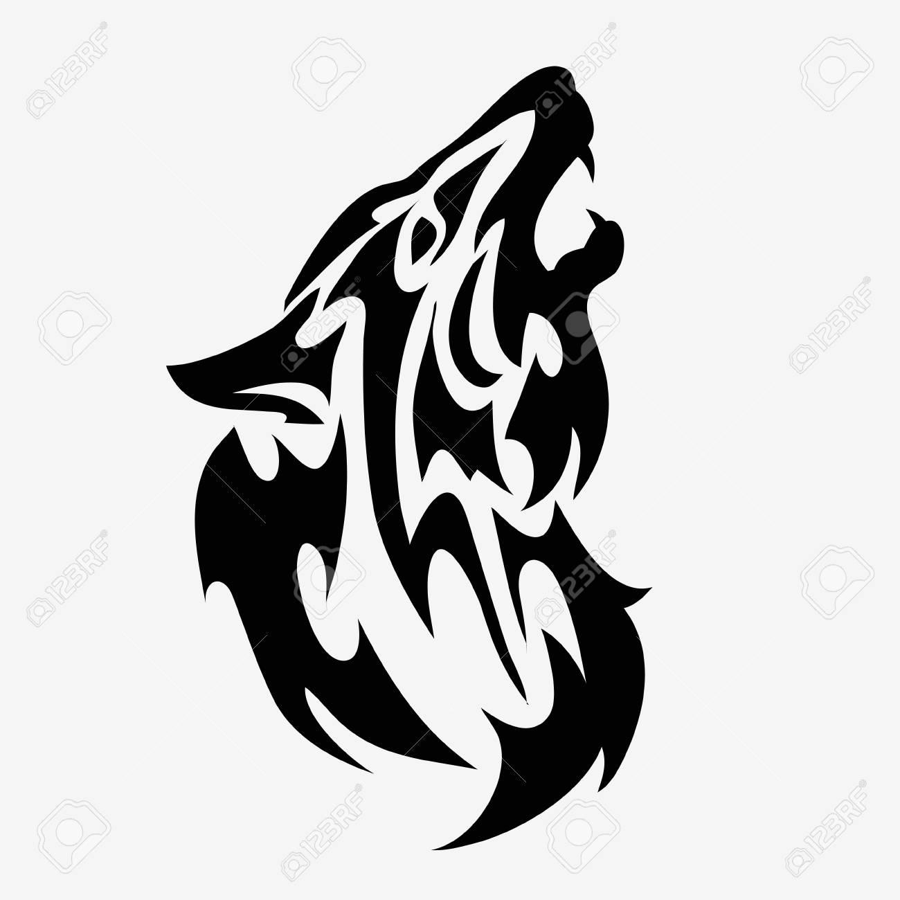 Tatuaje De Cabeza De Lobo Tribal Ilustración Abstracta De Vector