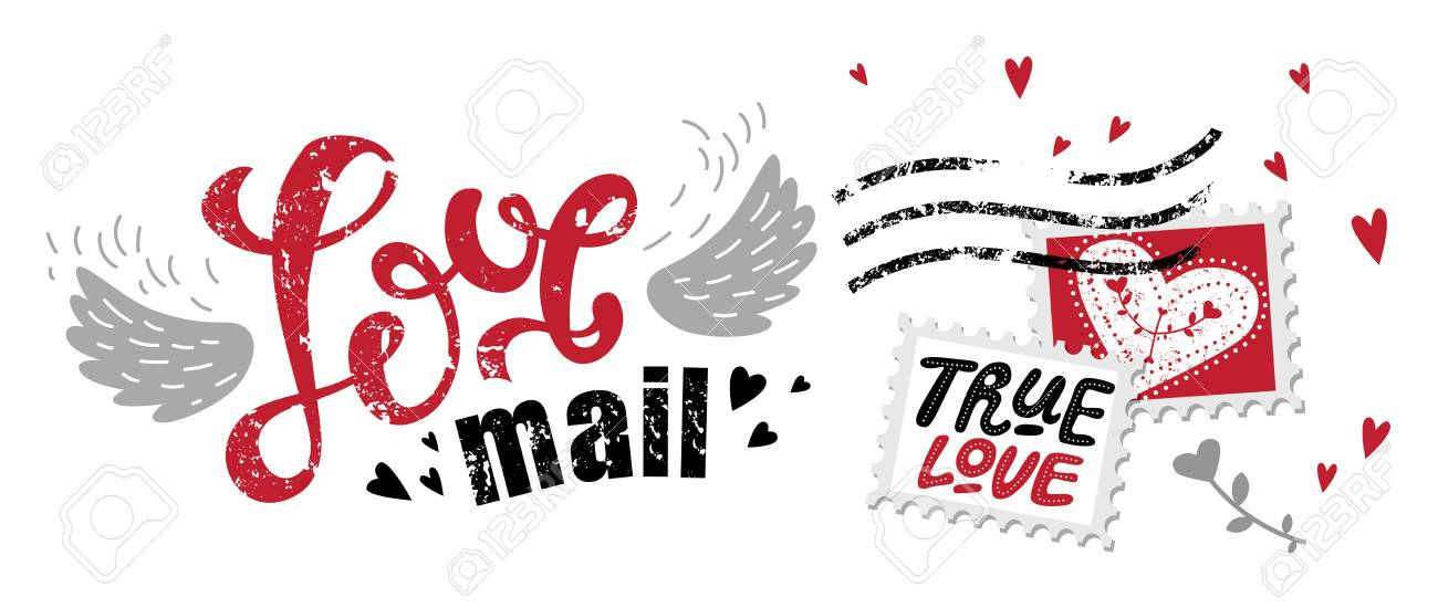 lettering love mail in