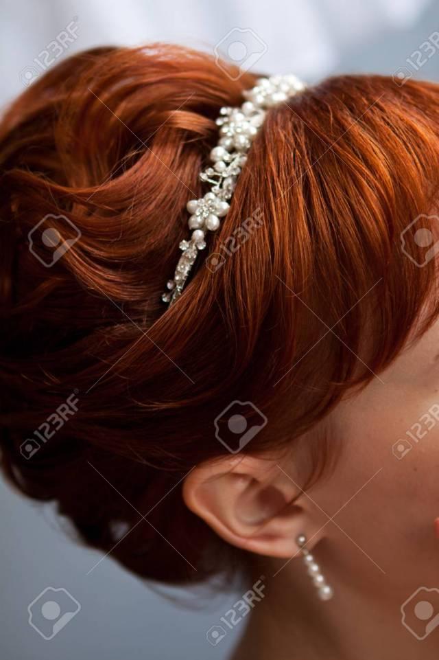 beautiful wedding diadem, wedding hairstyle on red hair. beautiful..