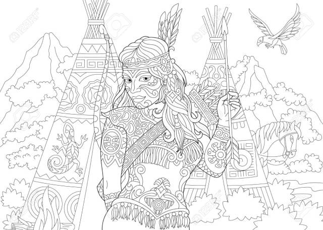 Native American Indian. Apache Woman. Coloring Page. Colouring