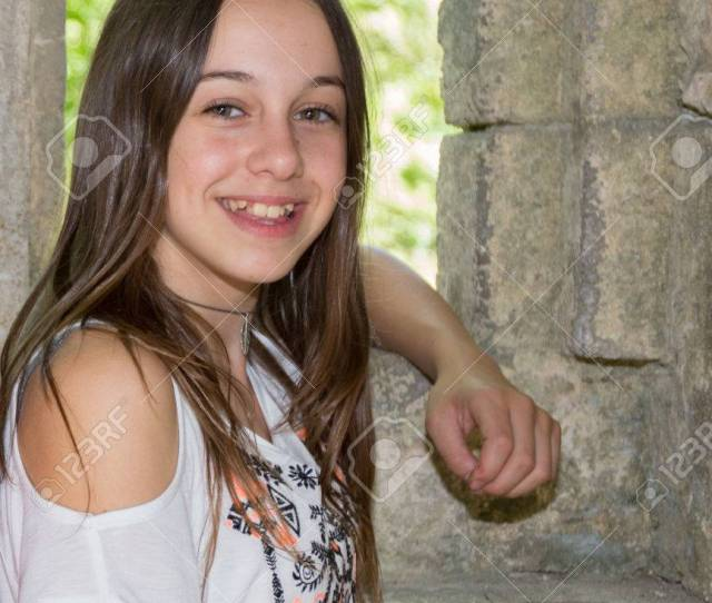 A Cute Teenage Girl Of 12 Years Old Smiling At The Camera Stock Photo 42666352