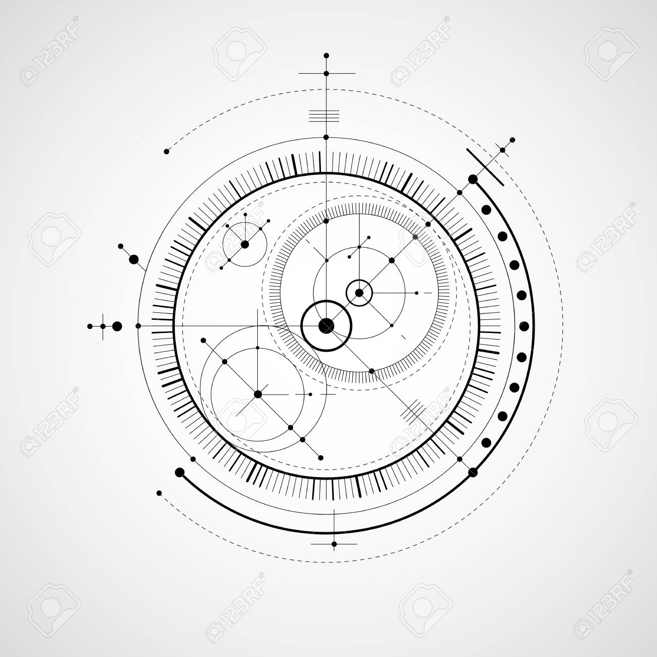Mechanical scheme black and white vector engineering drawing mechanical scheme black and white vector engineering drawing with circles and geometric parts