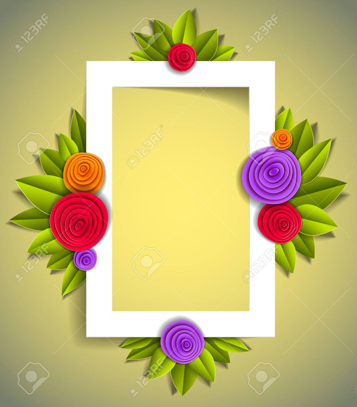 flowers and leaves beautiful background or frame with blank copy