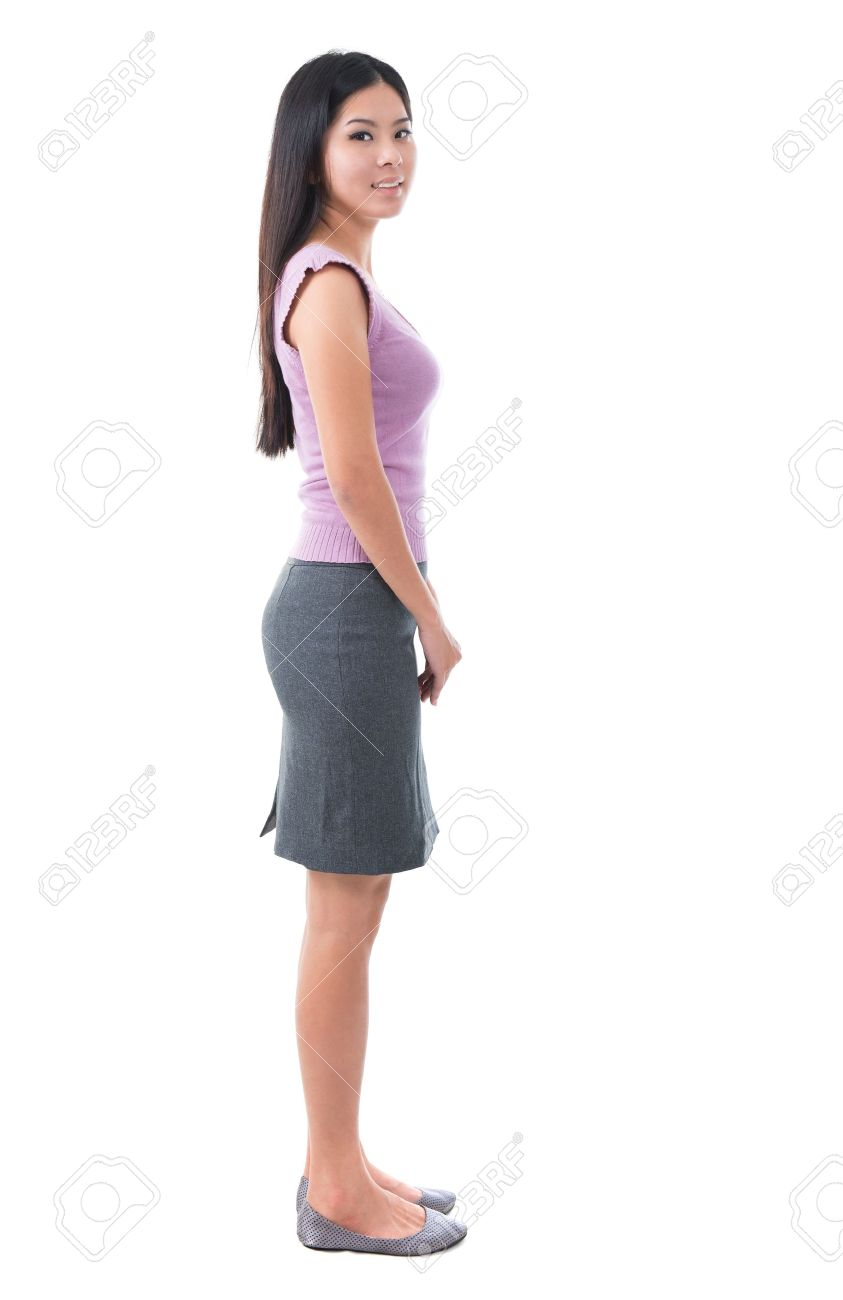 Body Side View : Asian, Young, Woman, Standing, White, Background, Stock, Photo,, Picture, Royalty, Image., Image, 17500985.