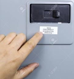 female hand near main circuit breaker of house power panel stock photo 16587612 [ 1300 x 926 Pixel ]